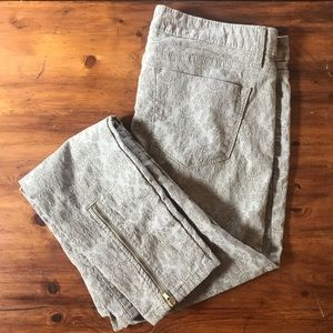 Pants - Beige Printed Skinny Ankle Pants w Gold Zippers